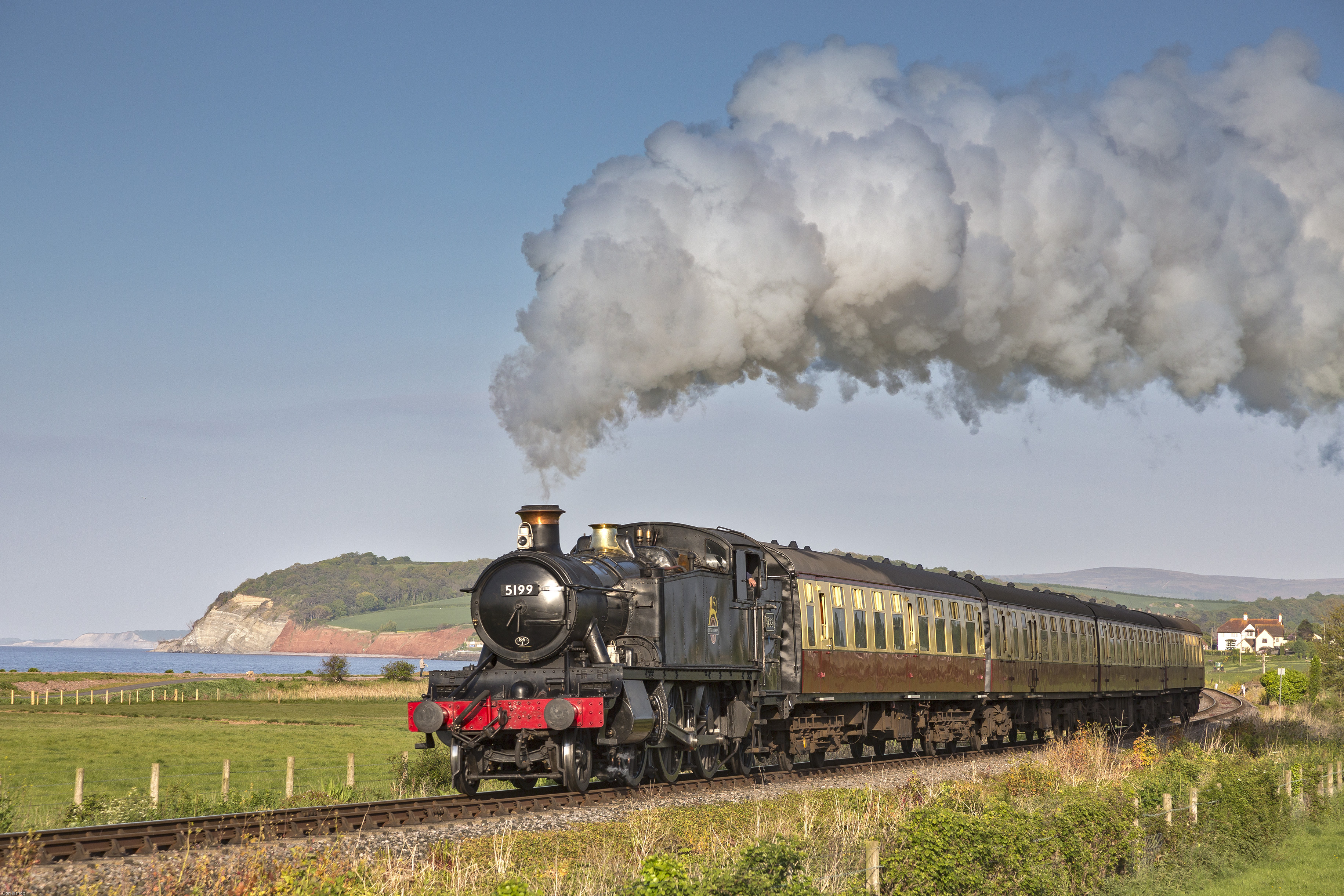 Former GWR steam loco 41xx Class No. 5199 crossing Ker Moor